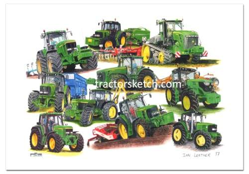 John Deere,10 Year Special Montage, Tractor, Ian Leather, Tractor Art, Drawing, Illustration, Pencil, sketch, A3,A4