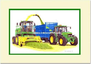 John Deere 7430 Forage Harvester and 6910s tractor - tractorsketch.com