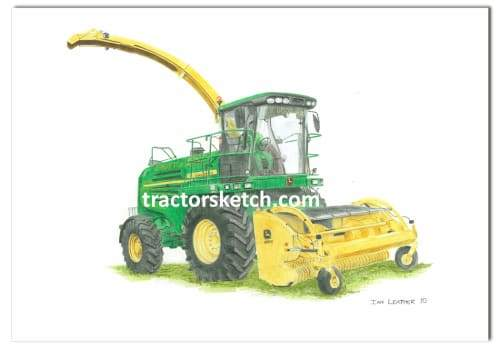 John Deere,7530 Forage Harvester, Tractor,  Ian Leather, Tractor Art, Drawing, Illustration, Pencil, sketch, A3,A4