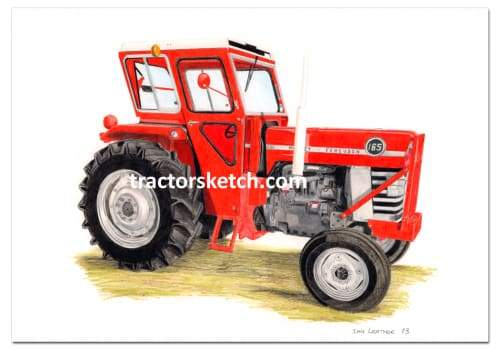 Massey Ferguson,165 , Tractor,  Ian Leather, Tractor Art, Drawing, Illustration, Pencil, sketch, A3,A4