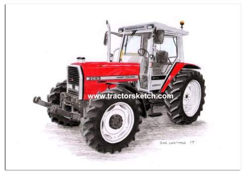 Massey Ferguson,3085 , Tractor,  Ian Leather, Tractor Art, Drawing, Illustration, Pencil, sketch, A3,A4