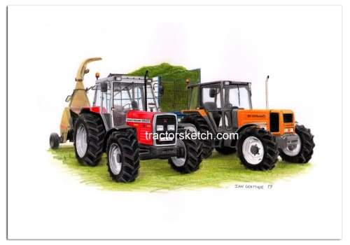 Massey Ferguson 390T with Renault 90.34 Silaging - tractorsketch.com