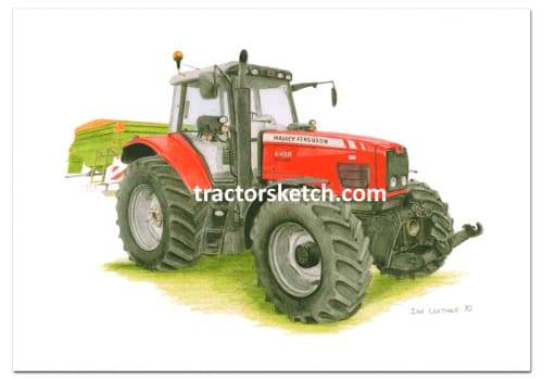 Massey Ferguson,6490 , Tractor,  Ian Leather, Tractor Art, Drawing, Illustration, Pencil, sketch, A3,A4