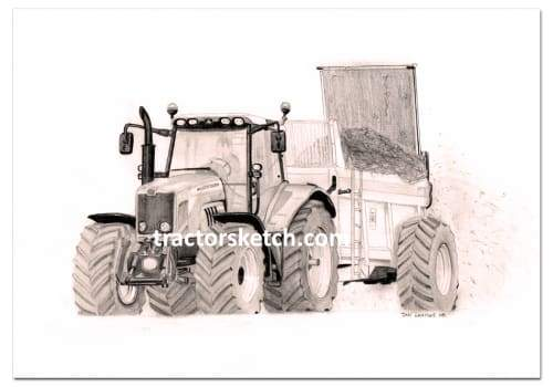 Massey Ferguson,7480 , Tractor,  Ian Leather, Tractor Art, Drawing, Illustration, Pencil, sketch, A3,A4