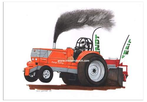 Orange Factory Tractor Puller / Art Print