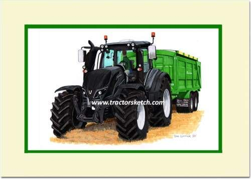 Valtra T Series,  T234 Tractor & Ktwo Trailer , Tractor,  Ian Leather, Tractor Art, Drawing, Illustration, Pencil, sketch, A3,A4