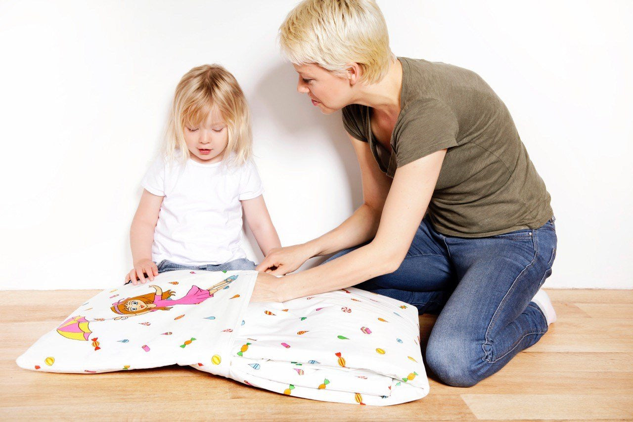 Candy Rain Kids Quillow Blanket - fold away into cushion | tidy time