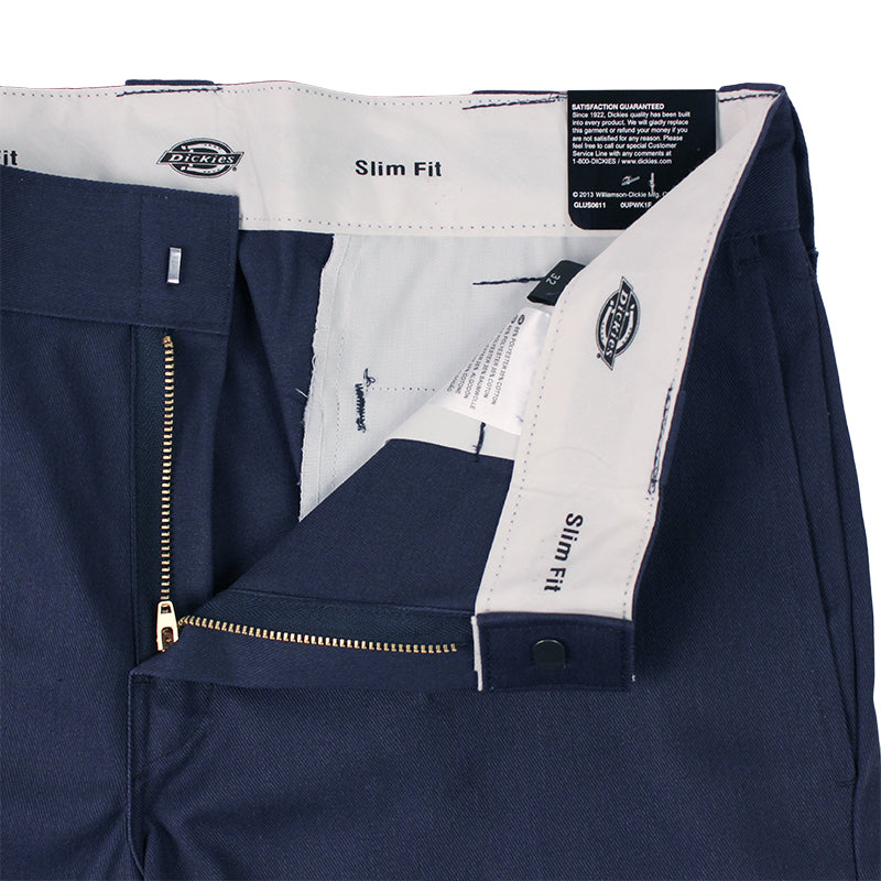 Dickies 273 Slim Fit Work Shorts in Navy - Zipper