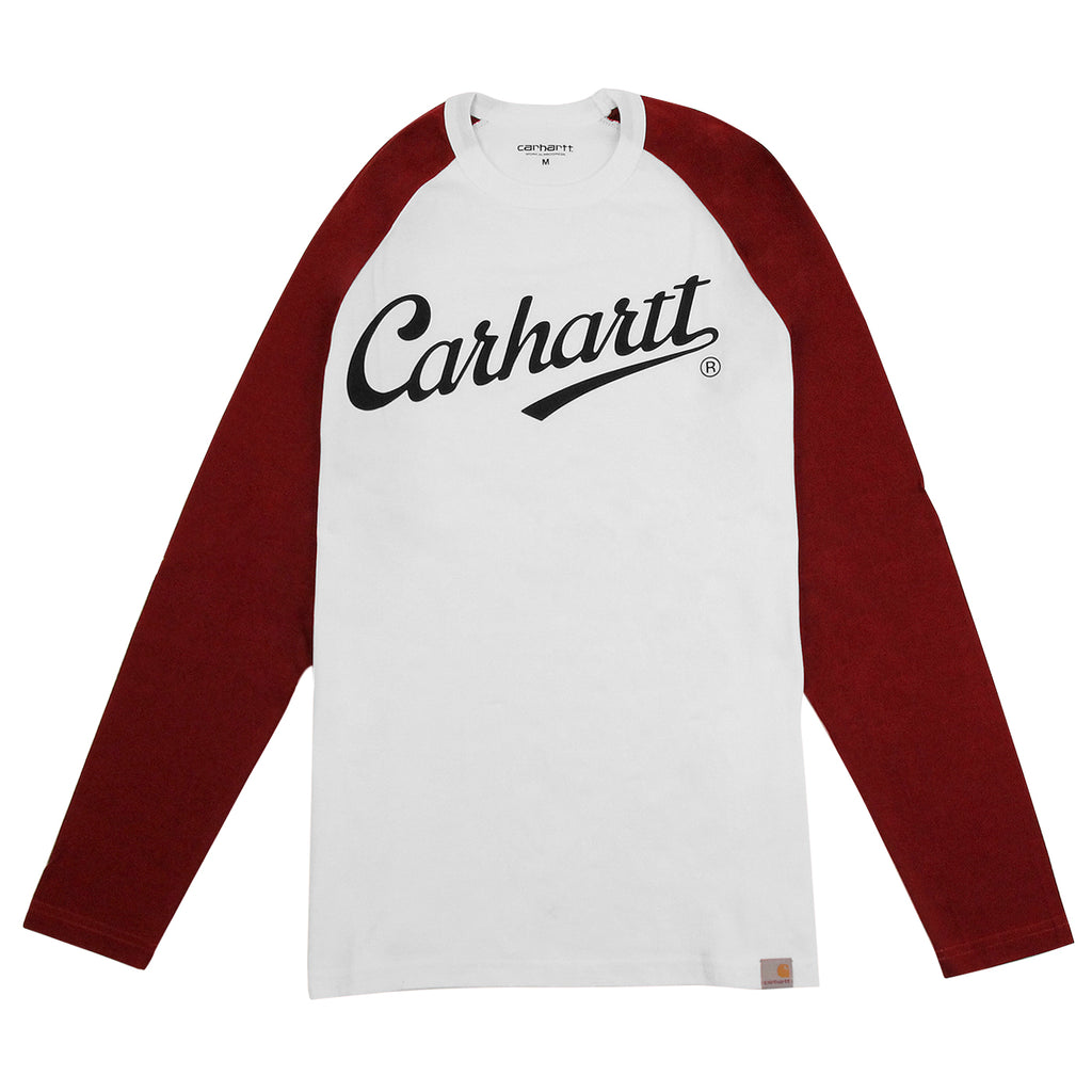 Carhartt L/S League T Shirt in White / Cordovan