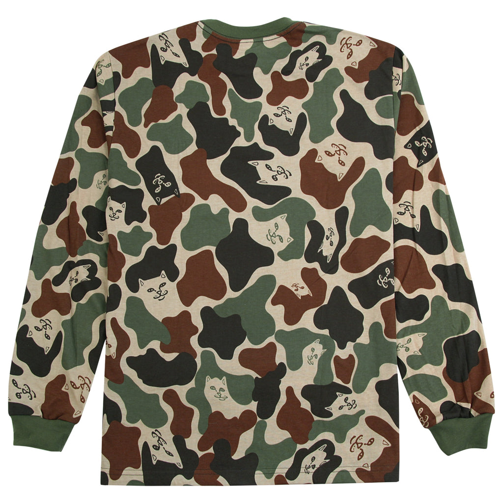 RIPNDIP L/S Lord Nermal T Shirt in Army Camo - Back