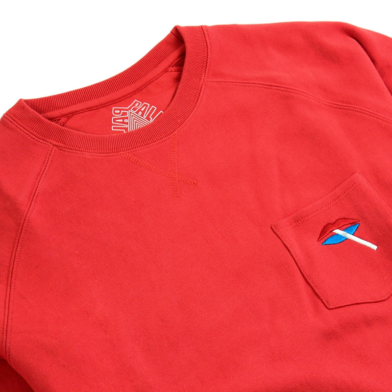 Palace Lips Pocket Crew in Red - Front