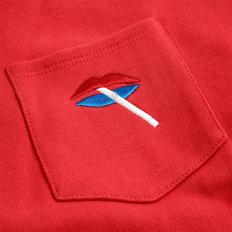 Palace Lips Pocket Crew in Red - Detail