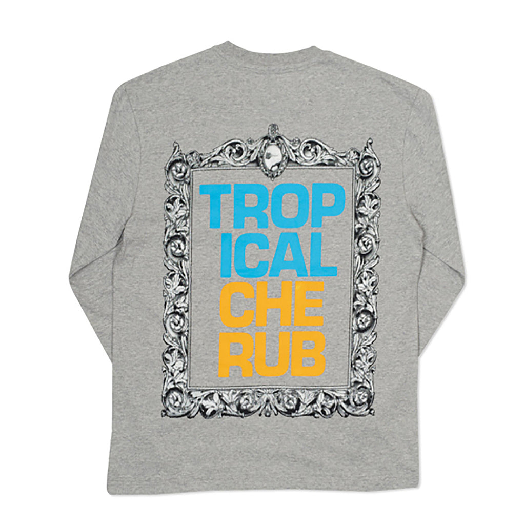 Palace Tropical Cherub L/S T Shirt in Grey Marl