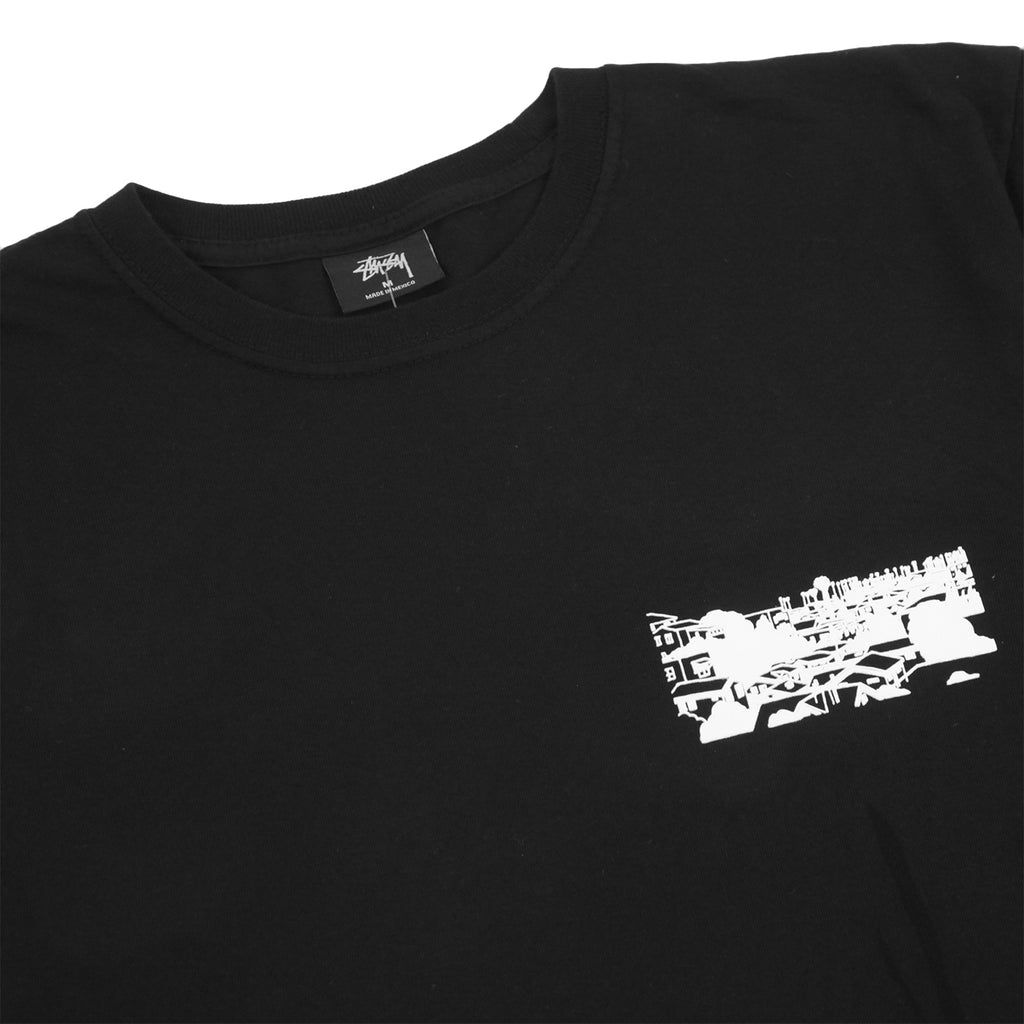 Stussy L.A Riots T Shirt in Black - Front detail