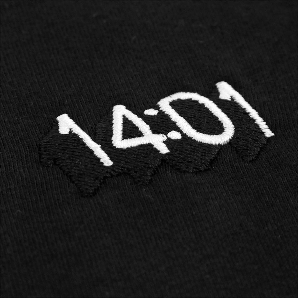14:01 Skateboard Co Logo T Shirt in Black - Embroidery