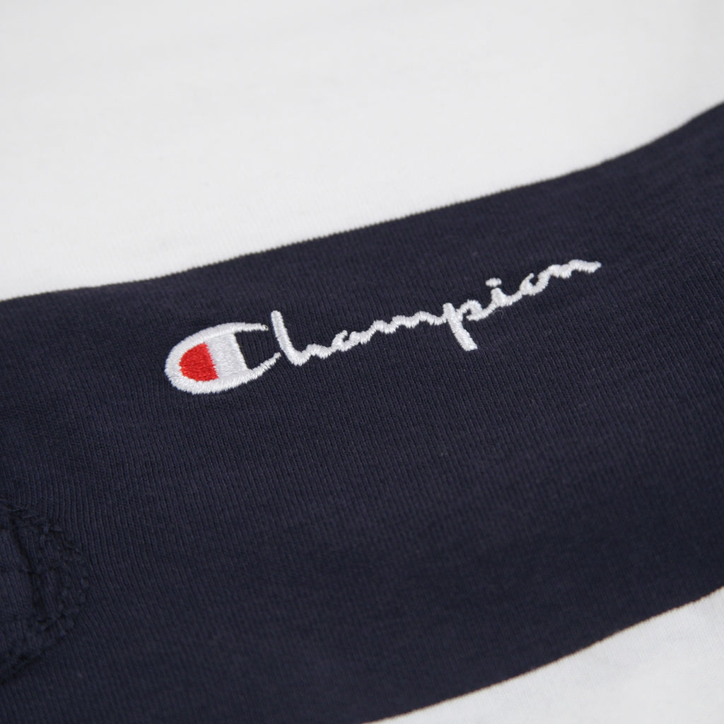 Champion Reverse Weave L/S Polo Shirt in Navy / White - Embroidery