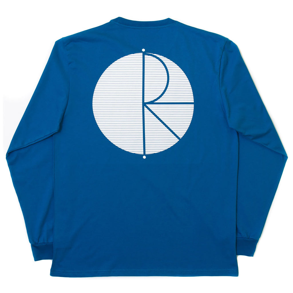 Polar Skate Co Fill Logo Behind The Curtains L/S T Shirt in Obsidian Blue / White