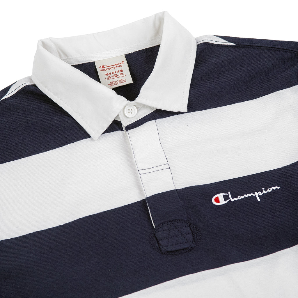 Champion Reverse Weave L/S Polo Shirt in Navy / White - Detail