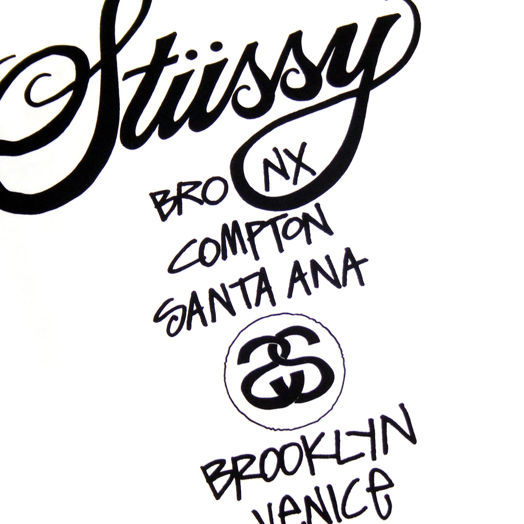 Stussy World Tour T Shirt in White - Back detail