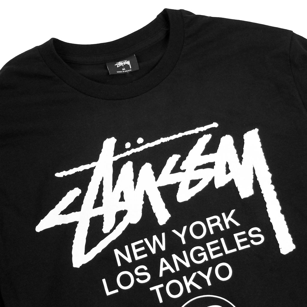 Stussy WT Flags L/S T Shirt in Black - Detail