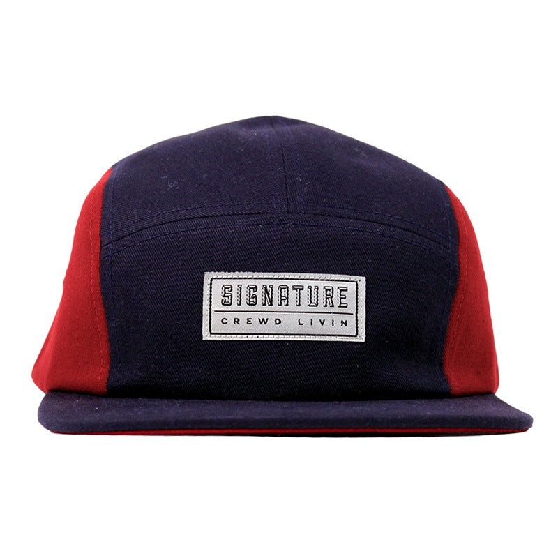 Signature Clothing Primitus 5 Panel Cap in Navy / Blood Red - Front