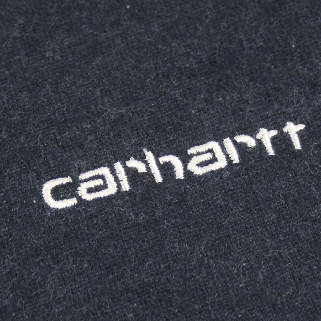 Carhartt WIP Script Embroidery Sweat in Navy Heather / White - Embroidery