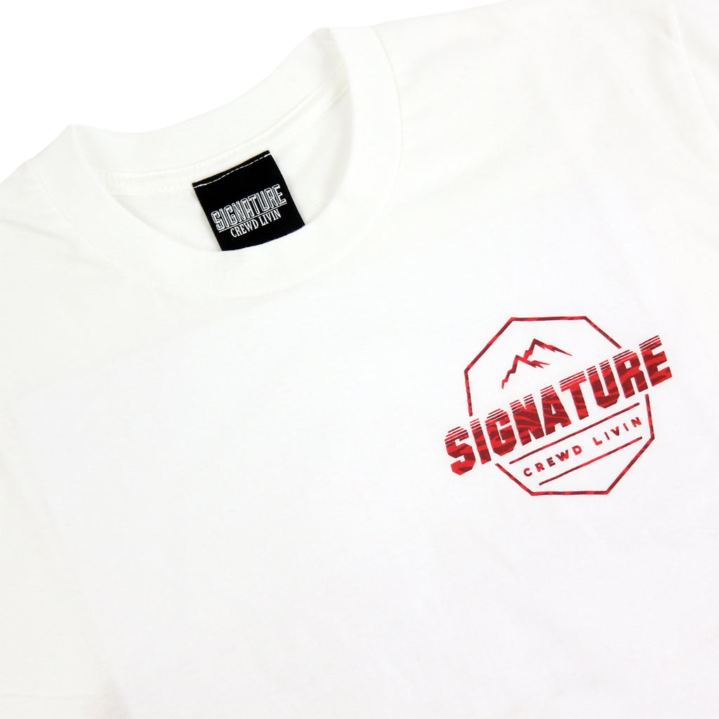 Signature Clothing Jungle Mach Peak T Shirt in White / Cardinal - Front detail