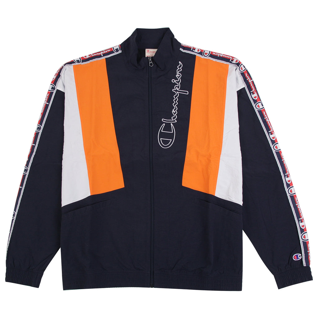 Champion Reverse Weave Taped Track Jacket in Navy / Bright Orange / White