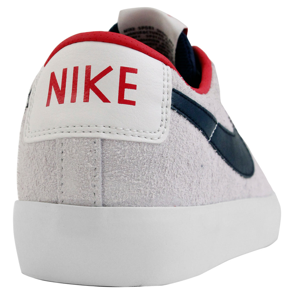 Nike SB Blazer Low Grant Taylor Shoes - Summit White / Obsidian in University Red - Heel