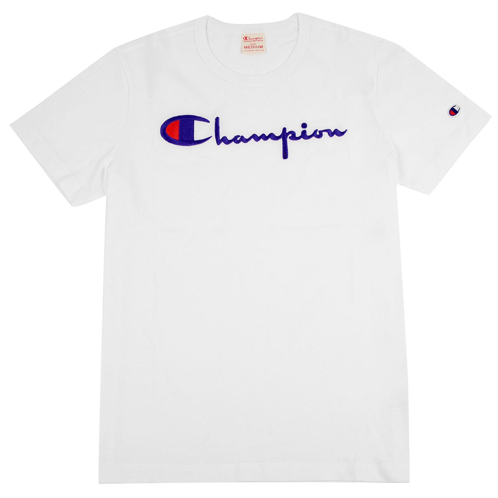 Champion Reverse Weave Script Logo T Shirt in White
