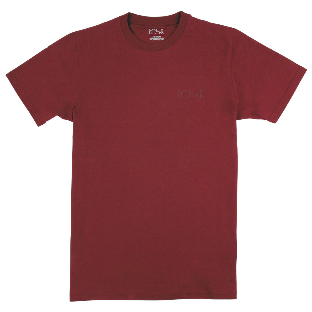 Polar Skate Co Stroke Logo T Shirt in Burgundy / Burgundy - Front