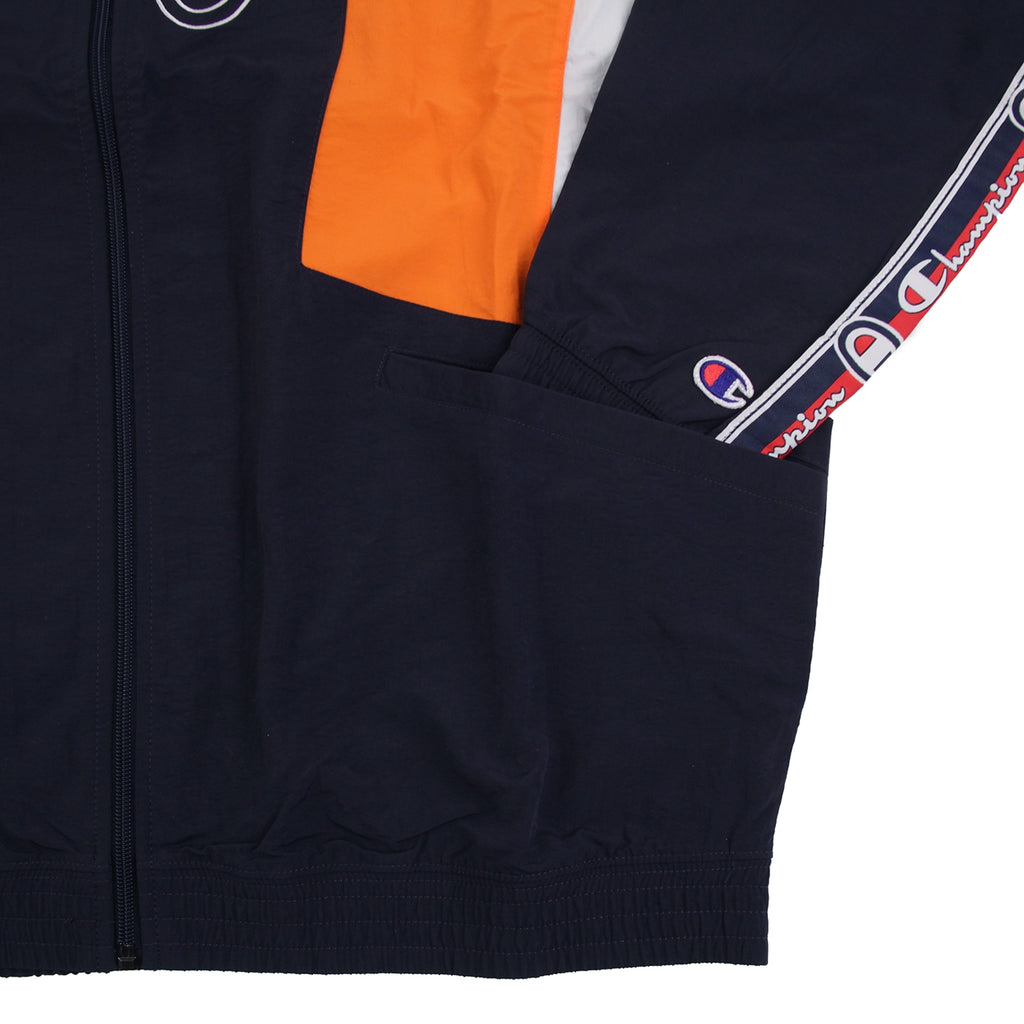 Champion Reverse Weave Taped Track Jacket in Navy / Bright Orange / White - Cuff