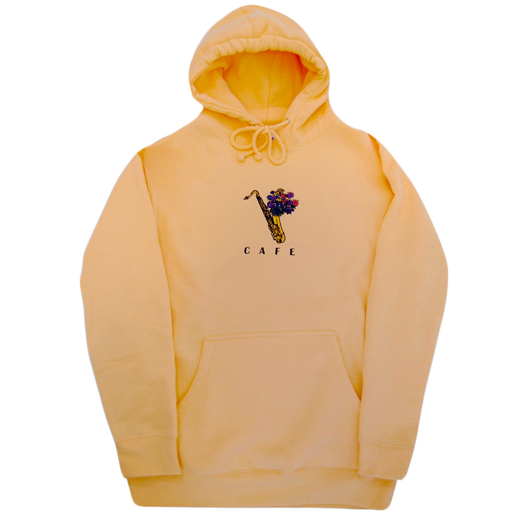 Skateboard Cafe Sax Flowers Pullover Hoodie in Peach