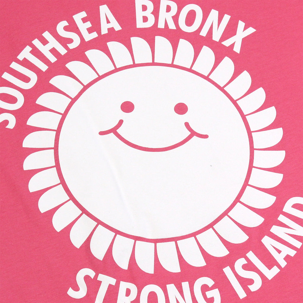 Southsea Bronx Strong Island T Shirt in White on Pink - Print