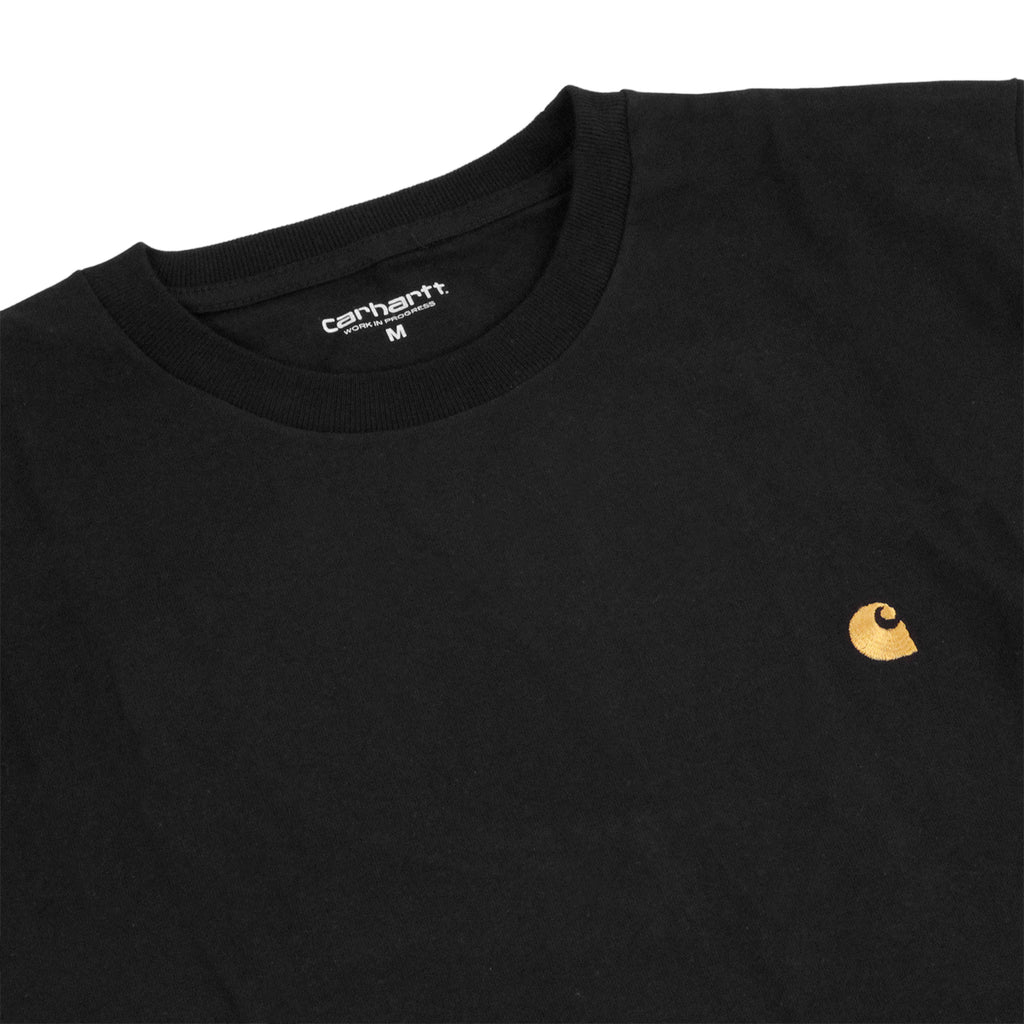 Carhartt S/S Chase T Shirt in Black / Gold - Detail