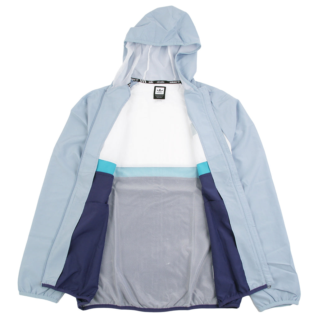 Adidas Skateboarding Blackbird Packable Wind Jacket in White / Ash Grey / Shock Green - Open