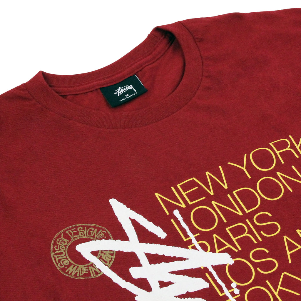Stussy Buana Stack T Shirt in Dark Red - Detail