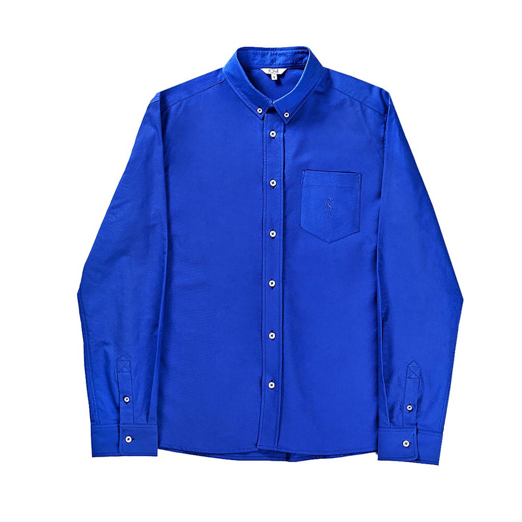 Polar Skate Co PSC Long Sleeve Oxford Shirt in 80's Blue