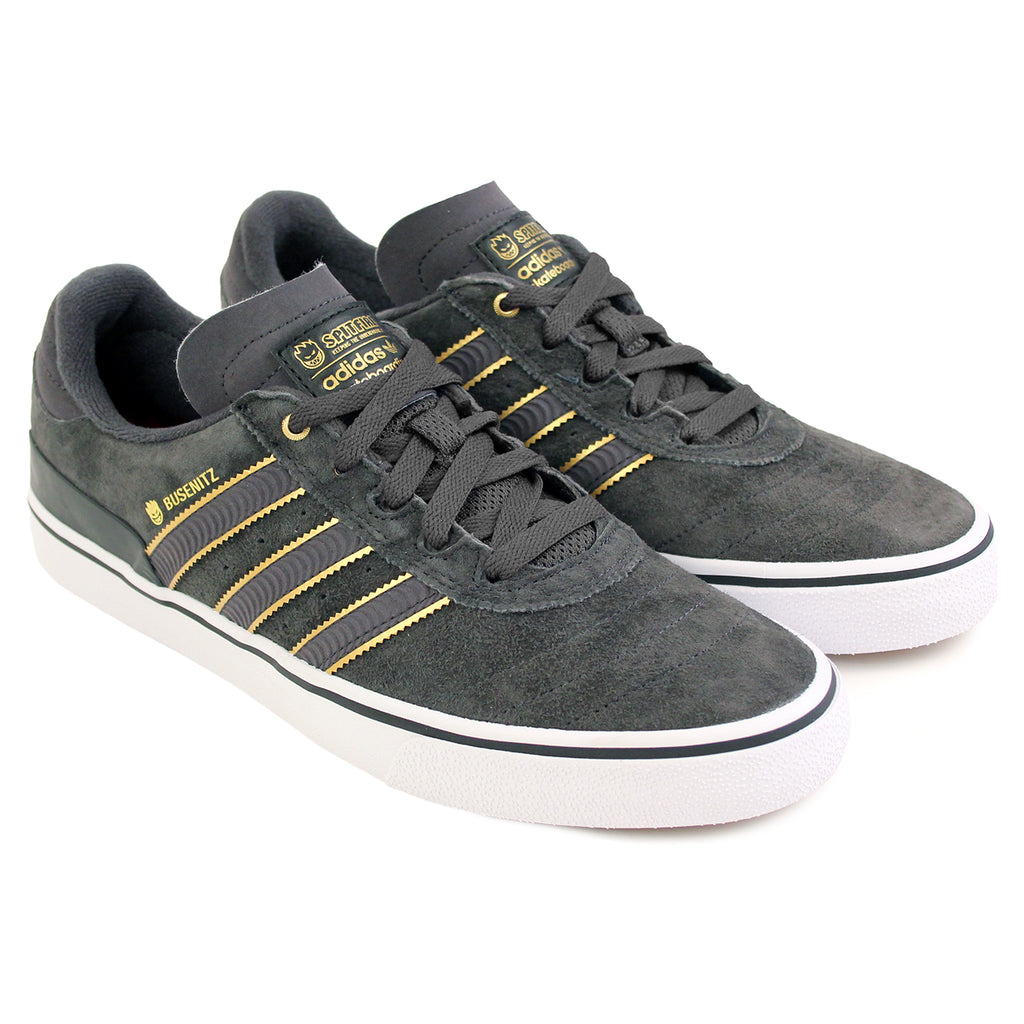 Adidas Skateboarding x Spitfire Busenitz Vulc Shoes in Carbon/Carbon/Gold Metallic - Pair