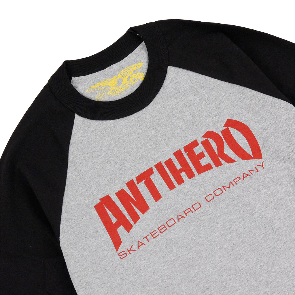 Anti Hero Skateboards Skate Co 3/4 Raglan T Shirt in Black / Athletic Heather - Detail