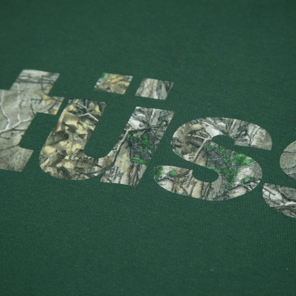 Stussy Camo Italic T Shirt in Pine - Print detail