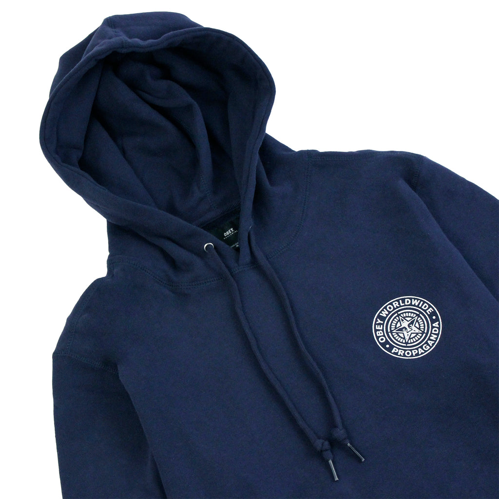 Obey Clothing Propaganda Seal Hoodie in Navy - Detail