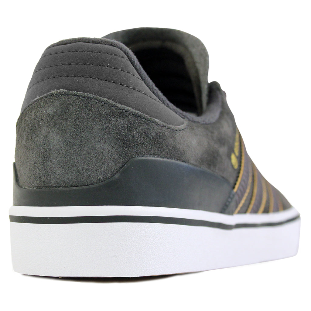 Adidas Skateboarding x Spitfire Busenitz Vulc Shoes in Carbon/Carbon/Gold Metallic - Heel