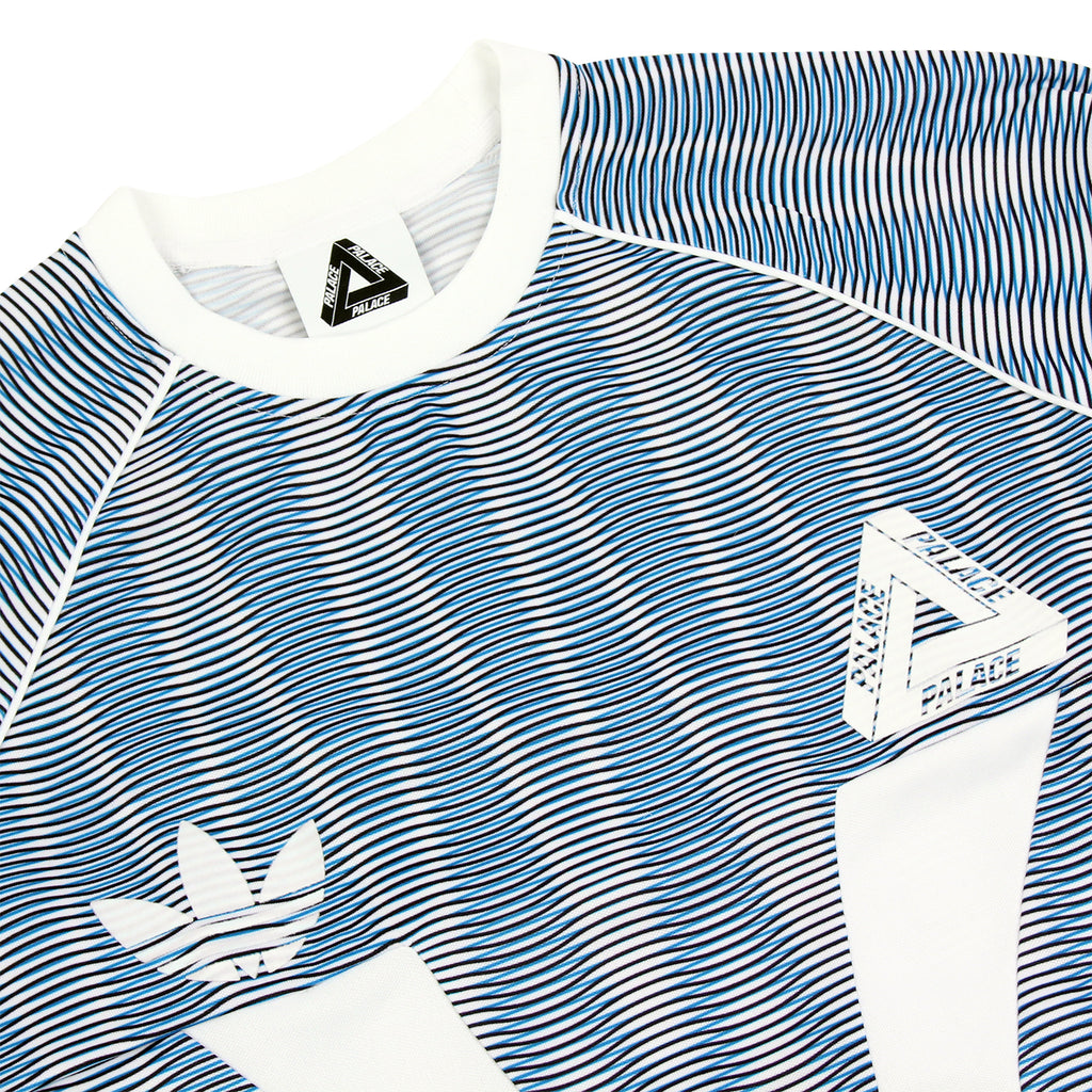 Palace x Adidas Graphic Goalie Shirt in Bold Aqua / White - Detail