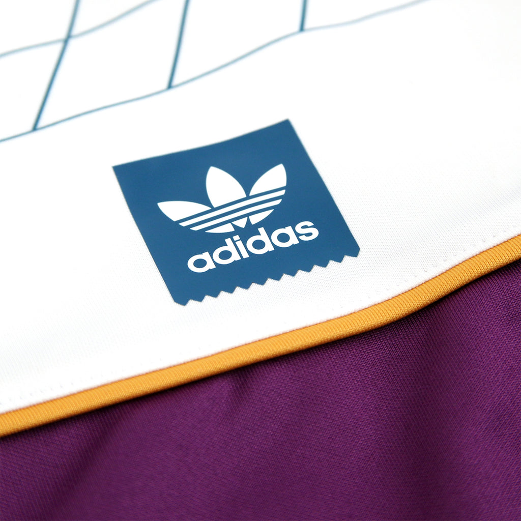 Adidas Skateboarding Tennis Jersey in White / Tribe Purple / Real Teal - Print