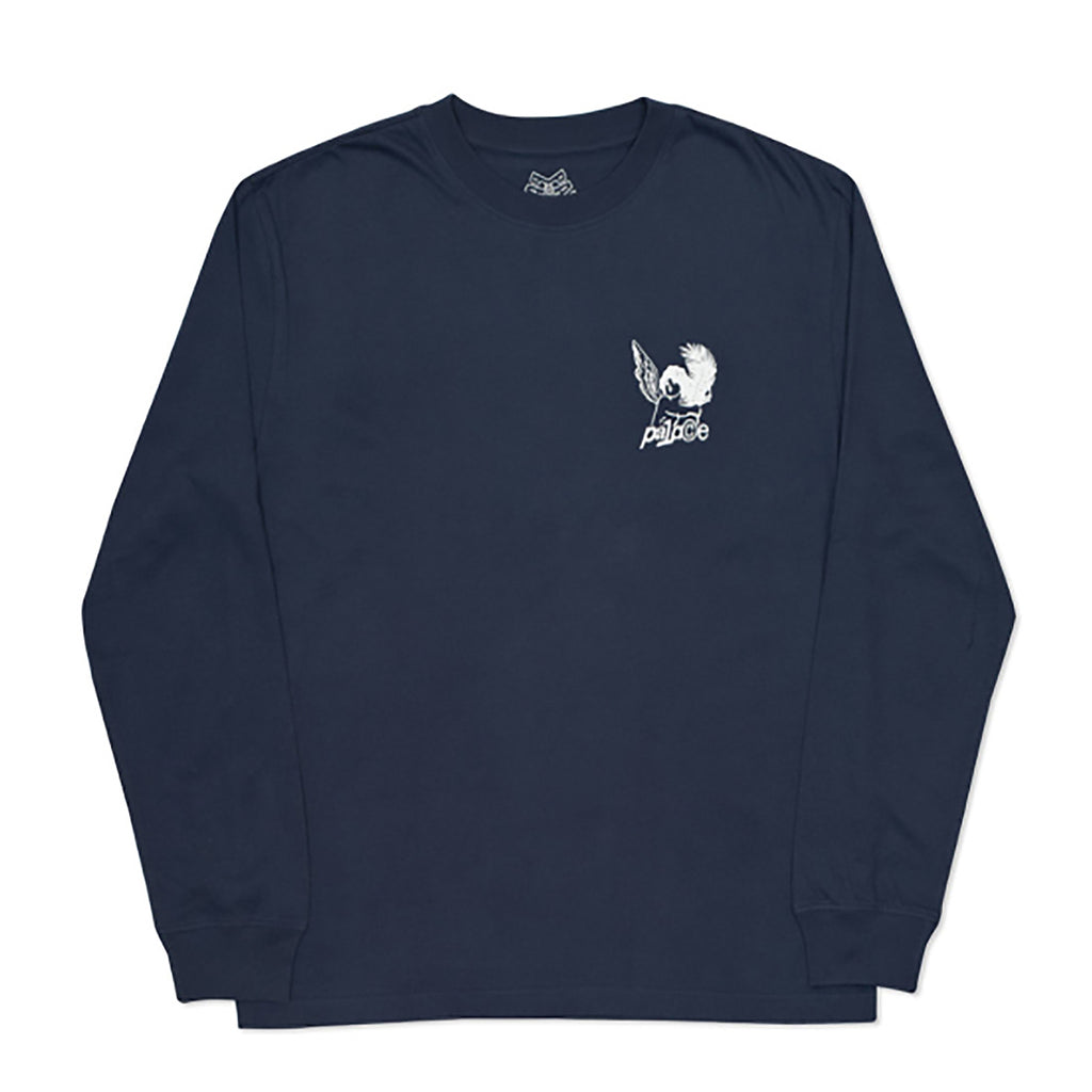 Palace Tropical Cherub L/S T Shirt in Navy - Front