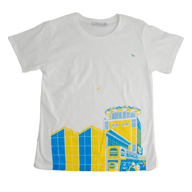 Bored of Southsea Clarence Pier Womens T Shirt in Blue / Yellow on White by Sodavekt
