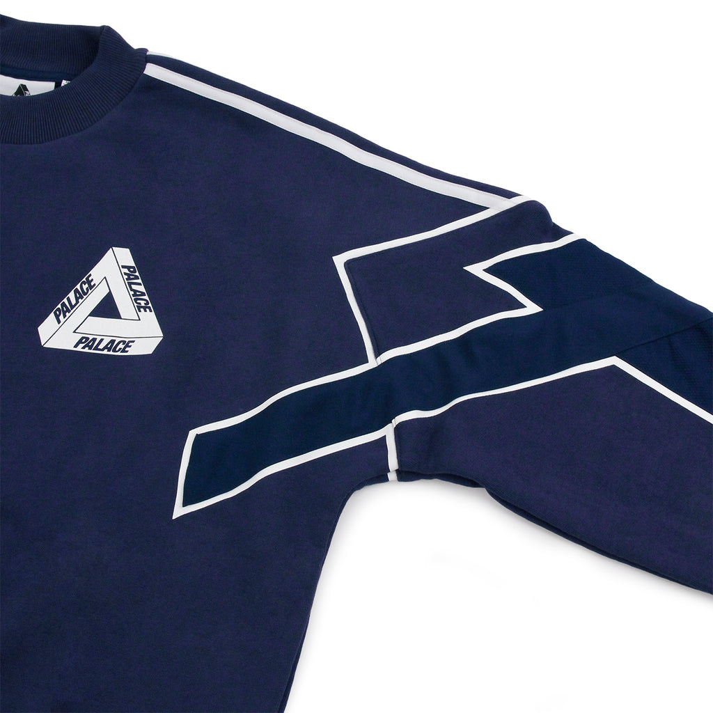 Palace x Adidas Crew Neck Sweatshirt in Night Indigo - Arms