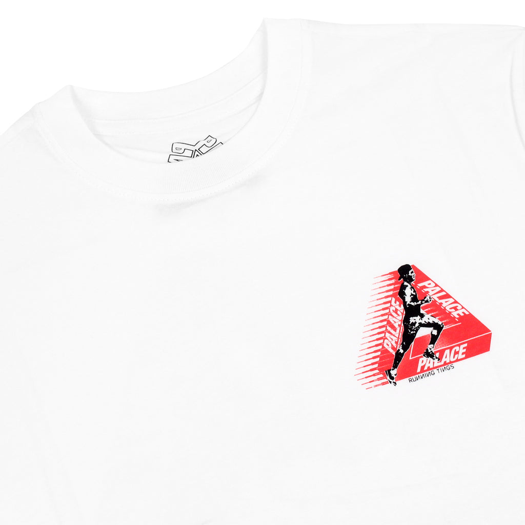 Palace Running Tings T Shirt in White - Detail