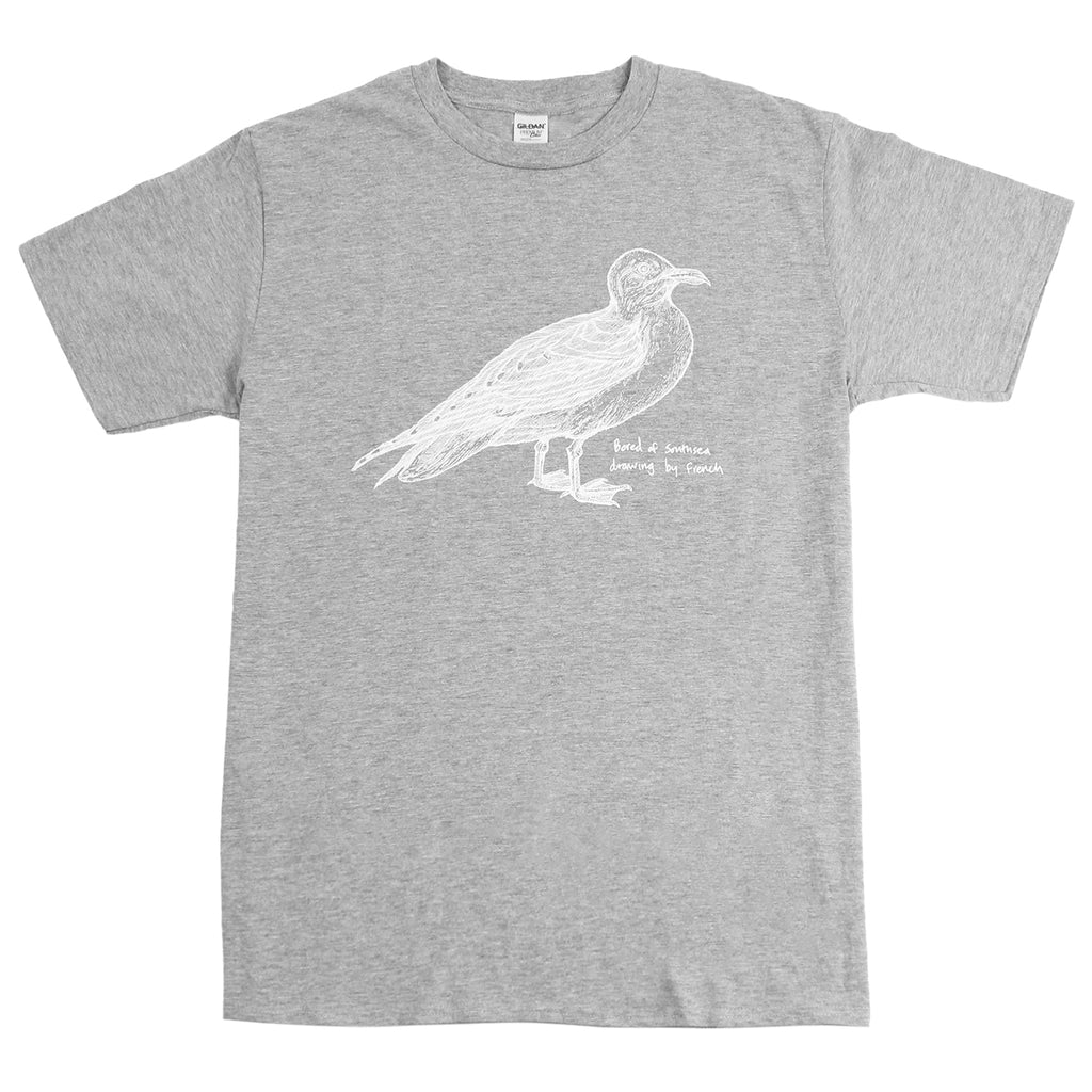 Bored of Southsea Seagull T Shirt in White on Heather Grey